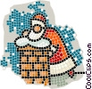 Santa going down the chimney Vector Clipart image