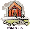Vector Clip Art picture  of a dog house with bones