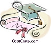 graduation hat and certificate Vector Clipart image