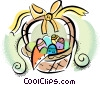 Vector Clip Art picture  of a Easter basket with eggs