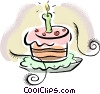 Vector Clipart image  of a birthday cake with a candle