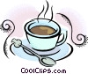 Vector Clip Art picture  of a cup of coffee with spoon