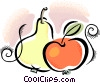 pear and an apple Vector Clipart image