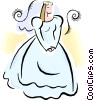 bride in her wedding dress Vector Clipart graphic