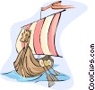 Viking ship Vector Clipart illustration