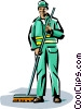Vector Clipart graphic  of a janitor