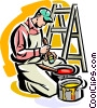 Vector Clip Art image  of a Painter mixing paint
