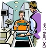 Boy at cash register Vector Clipart picture