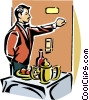 Vector Clip Art graphic  of a room service