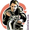 Vector Clipart picture  of a Mechanic with wrench