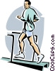 Vector Clip Art image  of a Man running on a treadmill