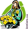 Vector Clipart graphic  of a woman with pot of flowers