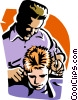 boy getting a hair cut Vector Clip Art image