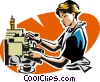 Vector Clipart graphic  of a waitress making a cappuccino