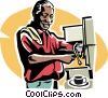 Vector Clipart image  of a waiter making a cappuccino