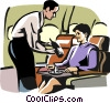 Flight attendant serving wine Vector Clipart picture