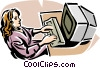 woman working at computer station Vector Clip Art picture
