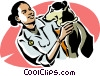 vet with a dog Vector Clip Art image