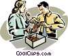 Vector Clip Art image  of a shoe salesman with customer