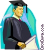 Vector Clipart picture  of a Student graduating
