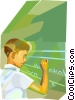Vector Clipart image  of a Student at the chalkboard