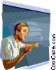 Vector Clipart graphic  of a student at the blackboard