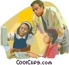 Teacher helping students on the computer Vector Clipart illustration