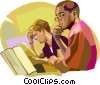 Vector Clip Art image  of a Students studying at school