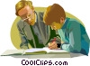 Vector Clip Art image  of a teacher helping a student