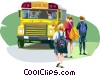 Vector Clip Art graphic  of a Students getting on school bus