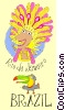 Vector Clipart picture  of a postcard for Brazil with a