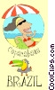 woman lying on a beach in Brazil Vector Clipart graphic