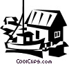 Vector Clipart picture  of a commercial fishing boat with