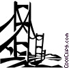 Vector Clipart picture  of a suspension bridge