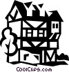 European cottage Vector Clipart graphic