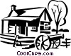 house with a canon Vector Clip Art graphic