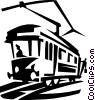 electric streetcars Vector Clipart illustration