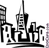 Vector Clipart illustration  of a San Francisco skyscrapers