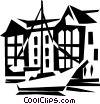 Vector Clip Art graphic  of a sailboat with buildings