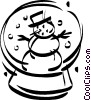 Vector Clipart graphic  of a snowman in a snow globe