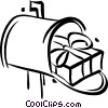 Vector Clip Art picture  of a Christmas gift in a mailbox