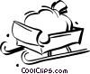 Vector Clip Art image  of a sack of toys on a sled