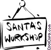 Santa's workshop sign Vector Clipart illustration