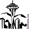 Vector Clip Art image  of a Seattle Space Needle