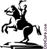 statue of a man on a horse Vector Clipart image
