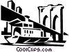 boat passing by a bridge Vector Clipart illustration