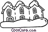 Vector Clip Art image  of a houses in a row after a snow