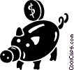 Vector Clip Art picture  of a coin being put into a piggy