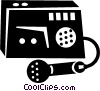 Vector Clip Art image  of a tape recorder and microphone