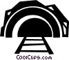 train tracks leading into a tunnel Vector Clipart graphic